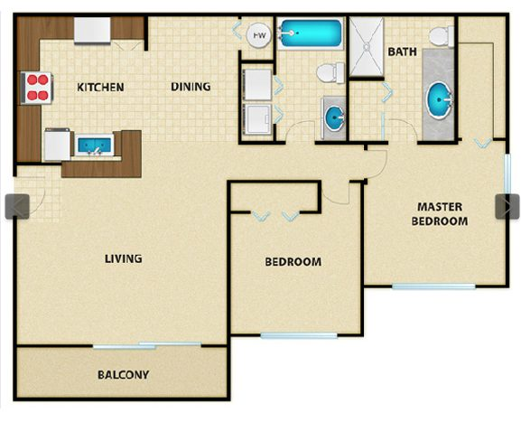 Luxury apartment floor plan for the Malibu in Crestview, Florida