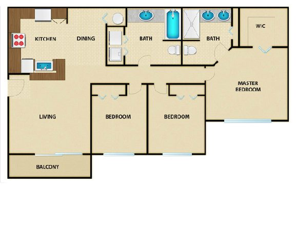 Floor plan for Waverly 3 bedroom 2 bath luxury apartment in Crestview