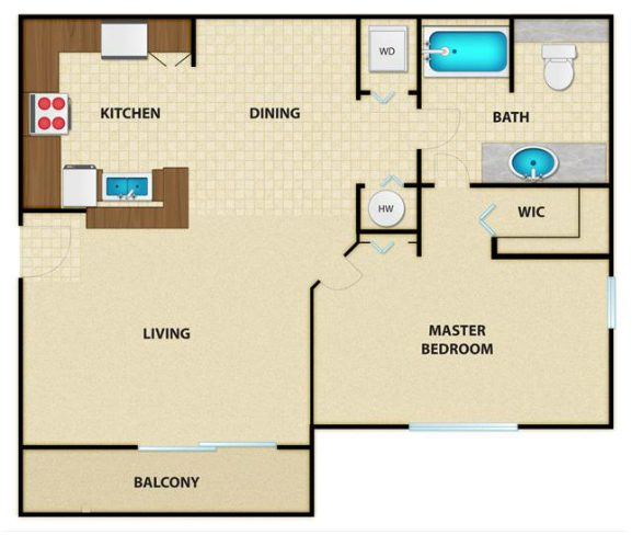 Luxury apartment floor plan for the Venice in Crestview, Florida