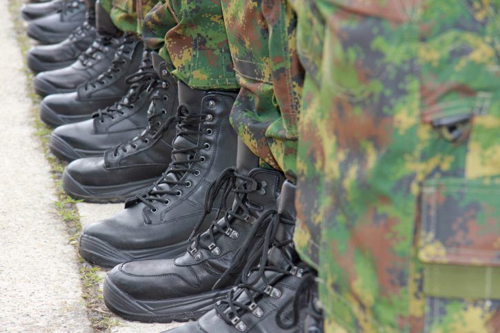 military boots in line