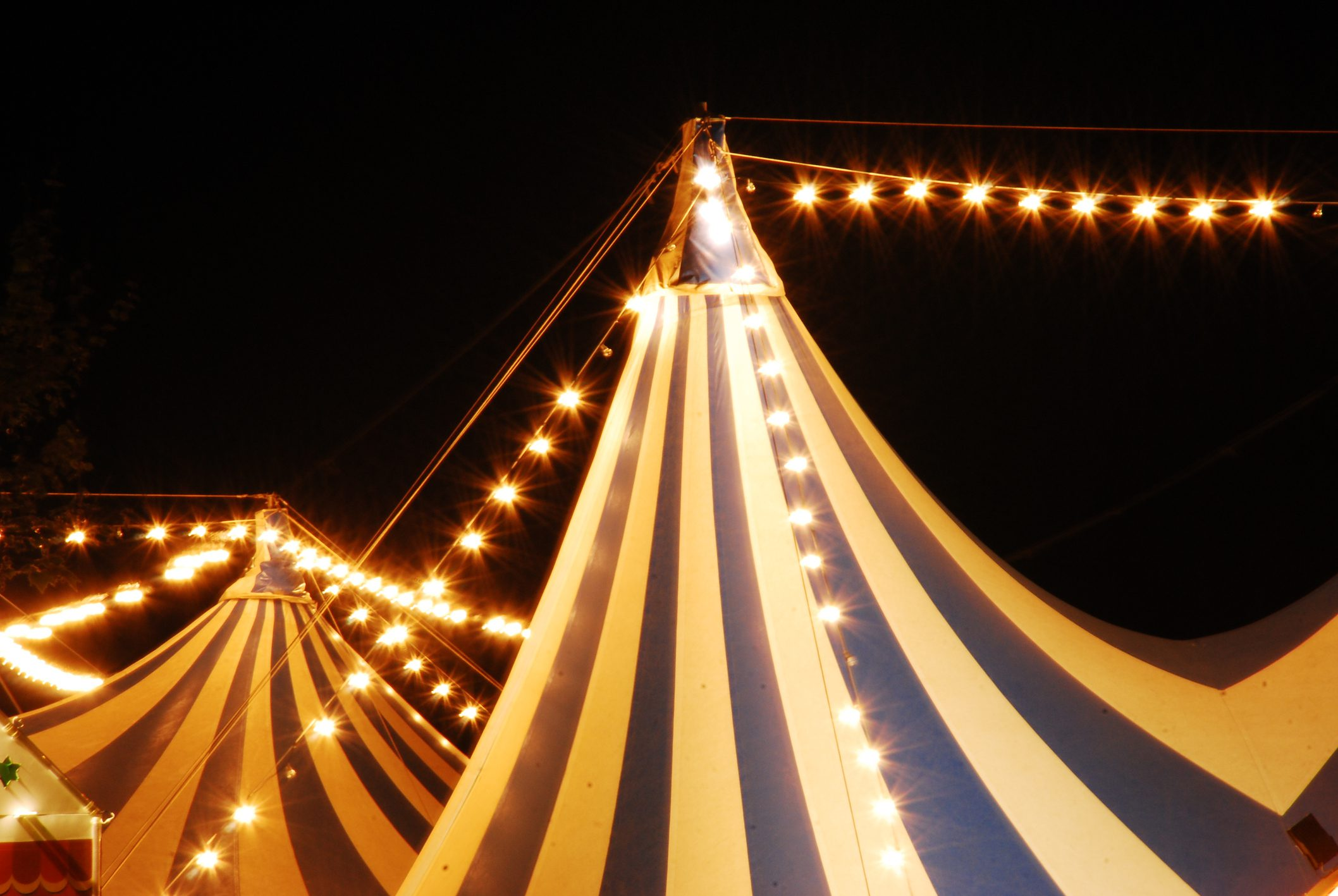 Tops of circus tents