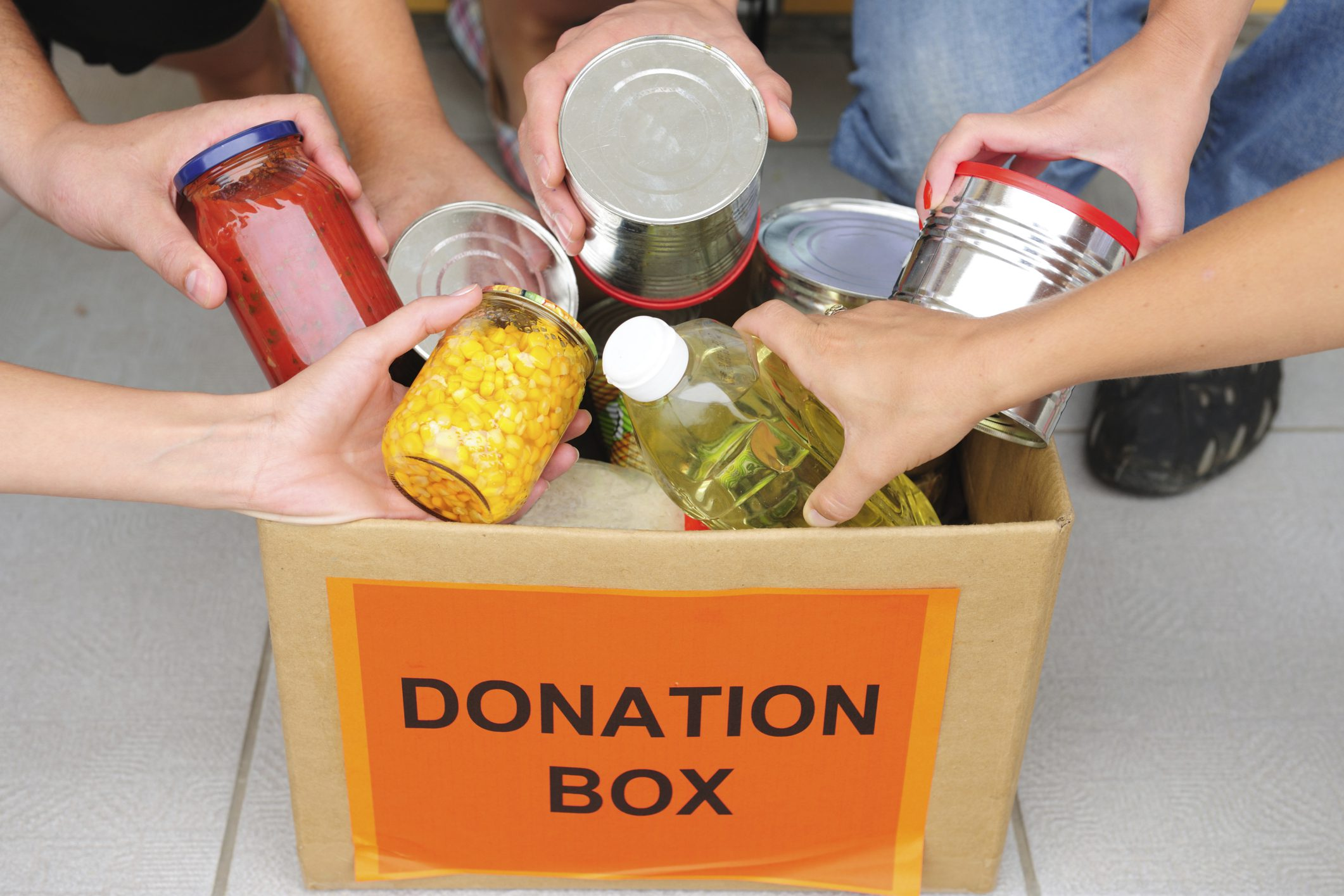 food drive, collecting canned goods