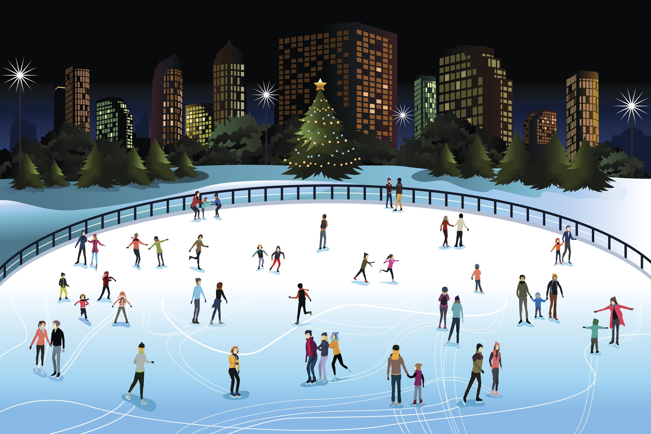 cartoon of crowd ice skating outside