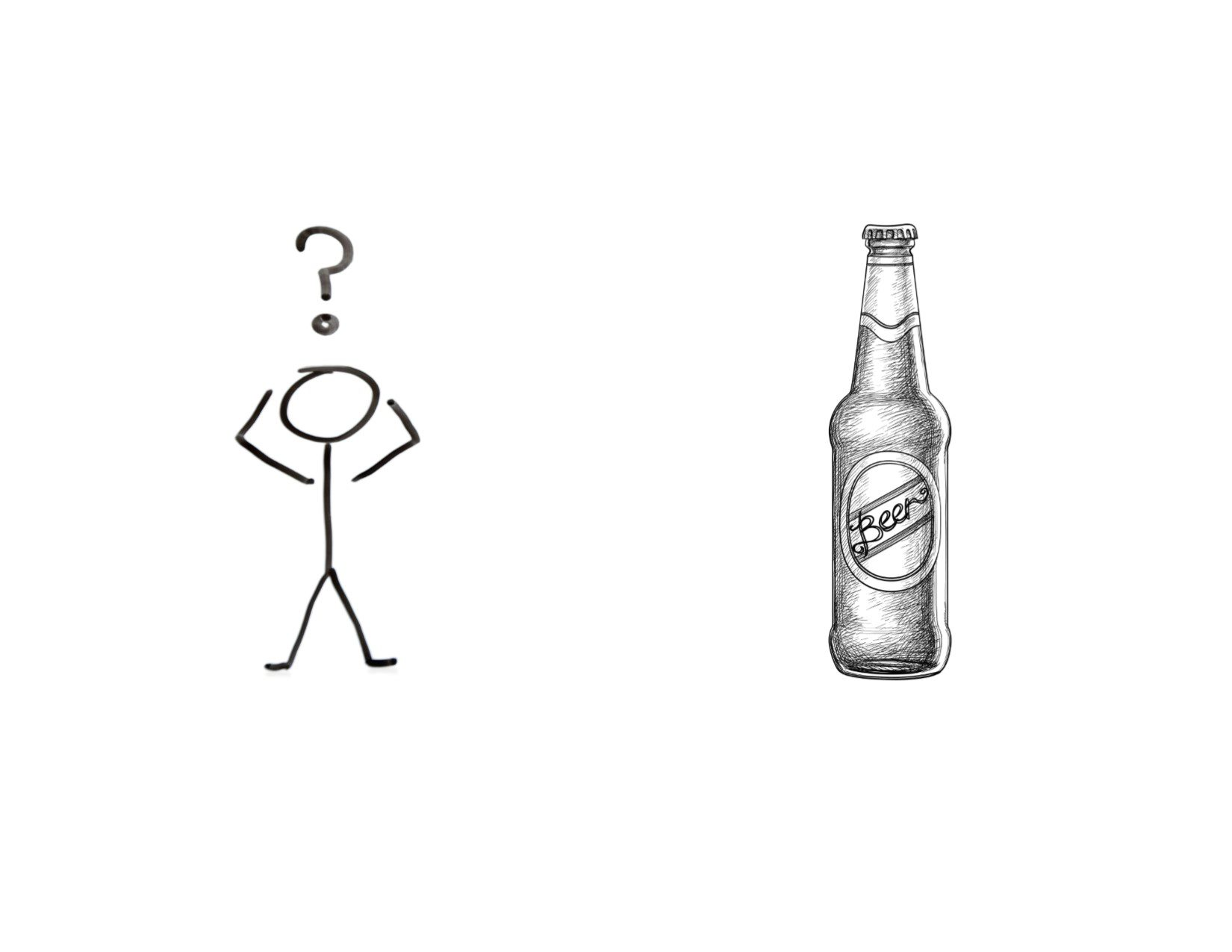 stick figure looking at a drawn beer bottle