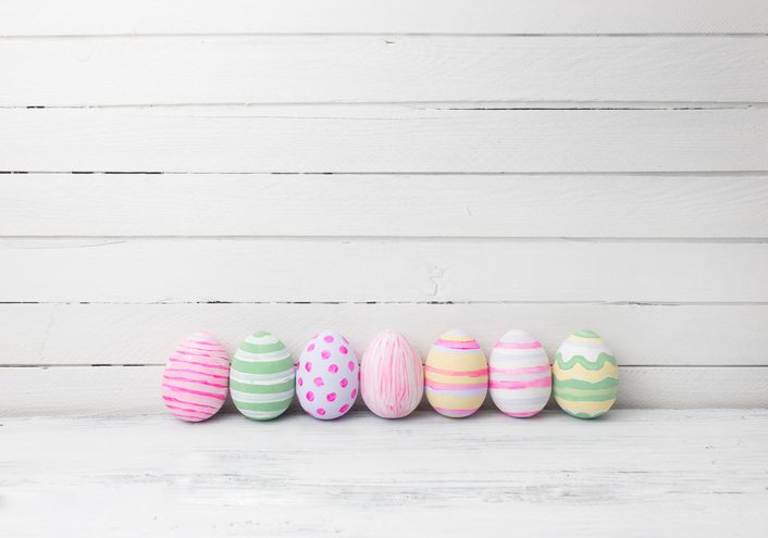 colored eggs lined up