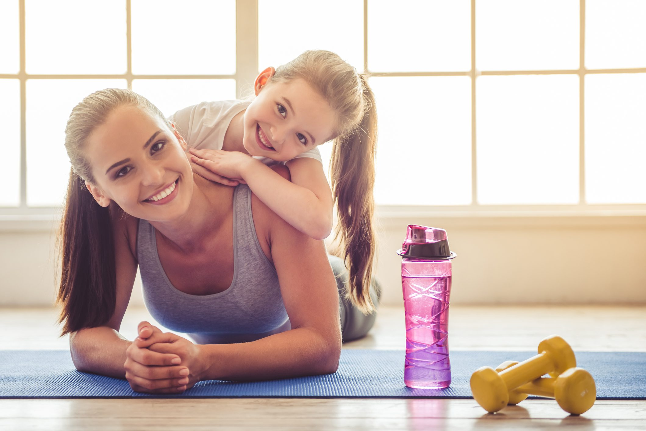 a Mother and Daughter yoga