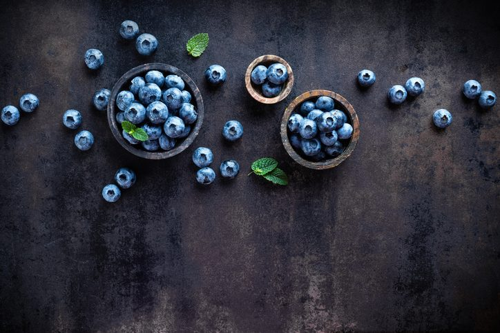 blueberries in small bowls