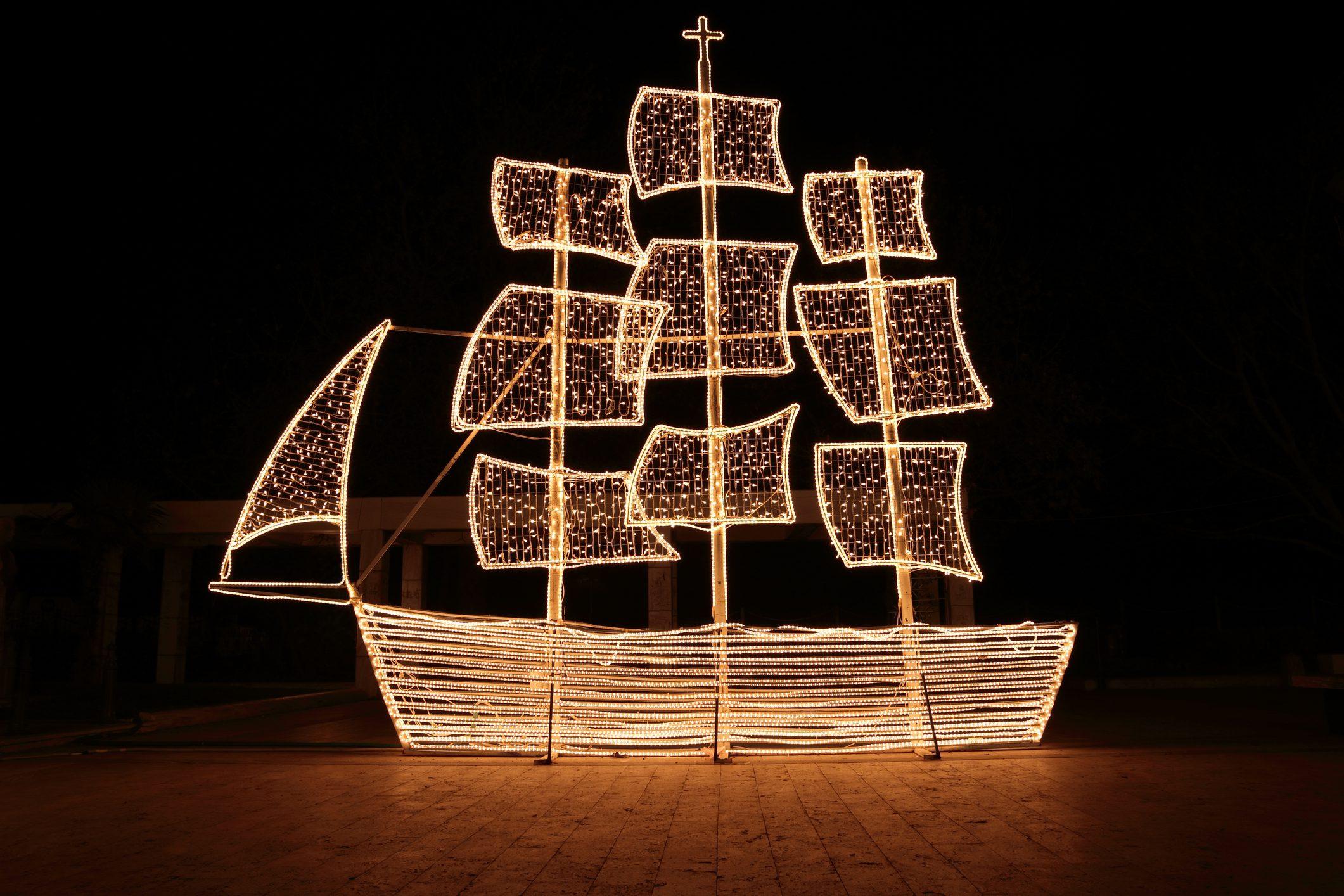 Lights on boat