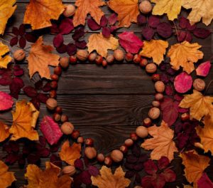 Flat lay frame in the form of a heart from autumn crimson and yellow leaves, hazelnuts and walnuts on a dark wooden background. Selective focus.