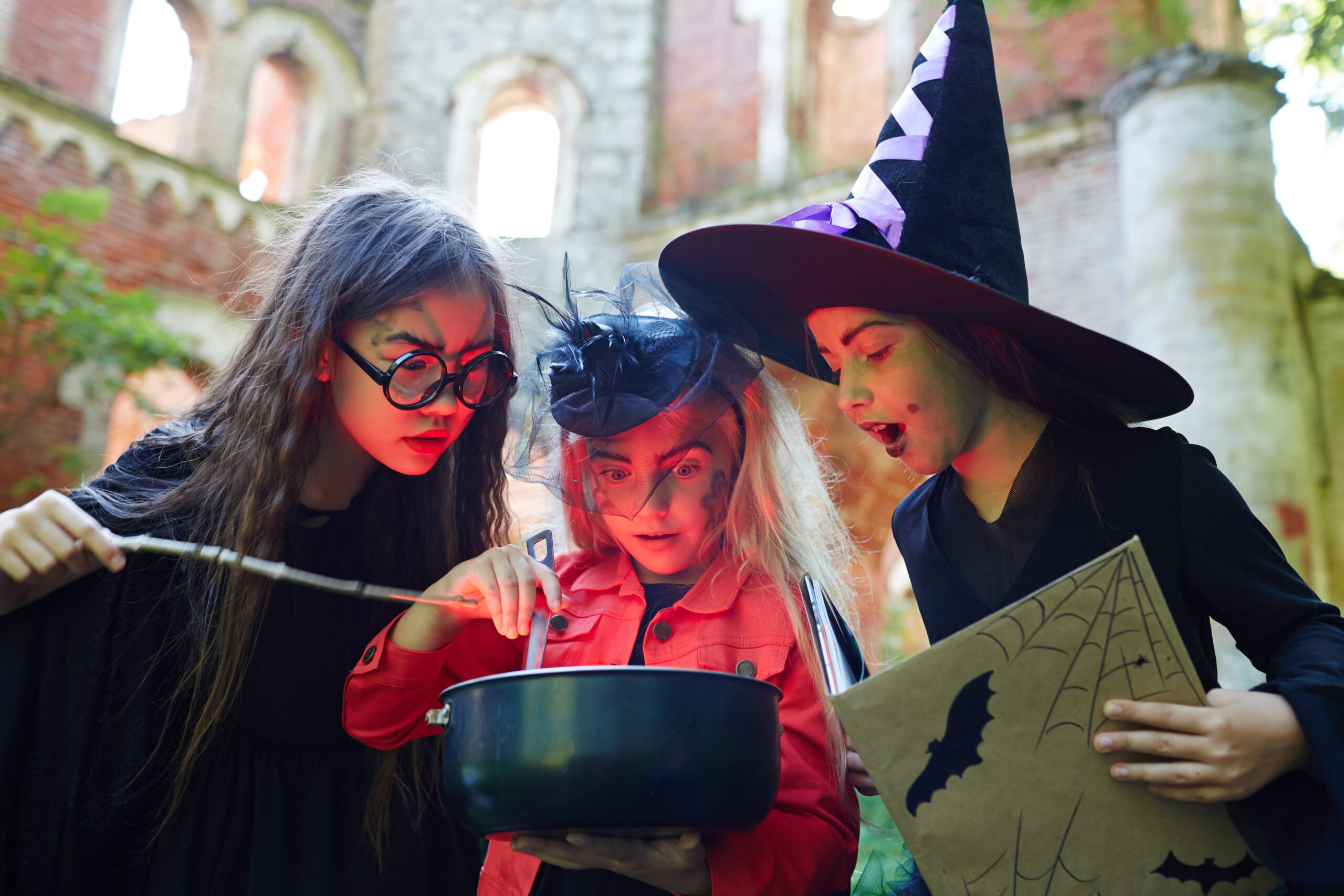 Astonished halloween girls looking into pot with witch-brew