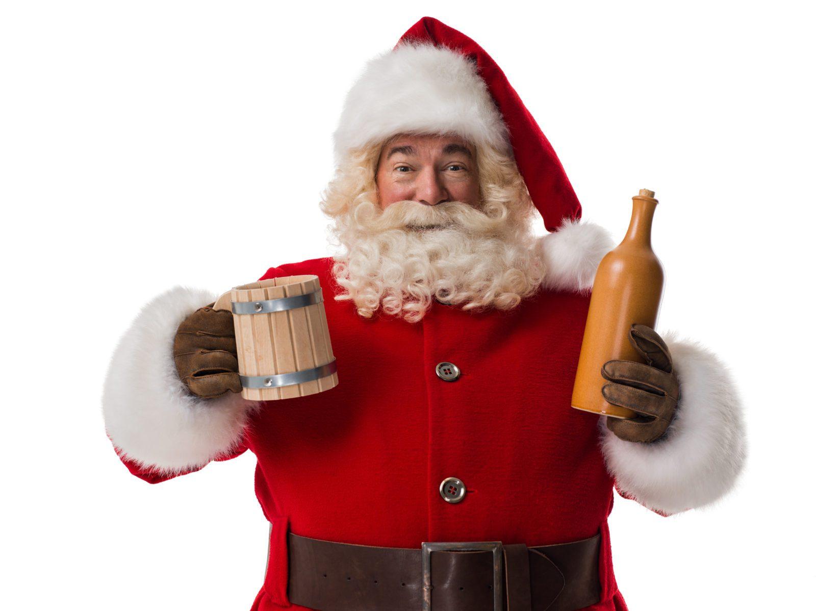 Santa holding beer