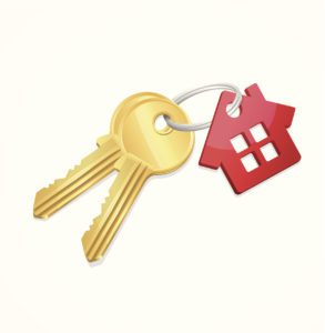 House Keys with a red keychain