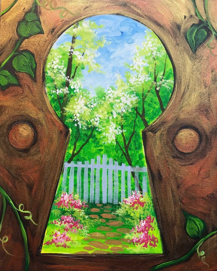 Keyhole to a garden painting
