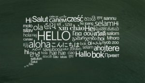Speech bubble of white hello words on different languages