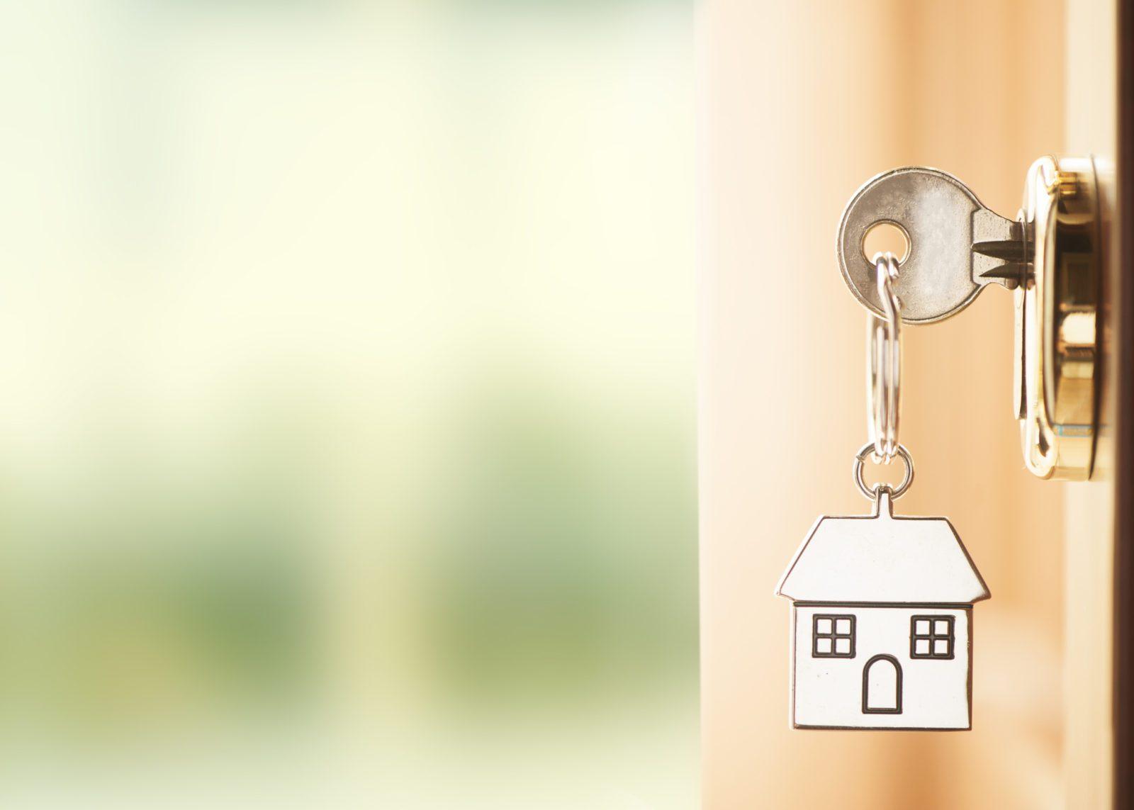 Front door with house keys