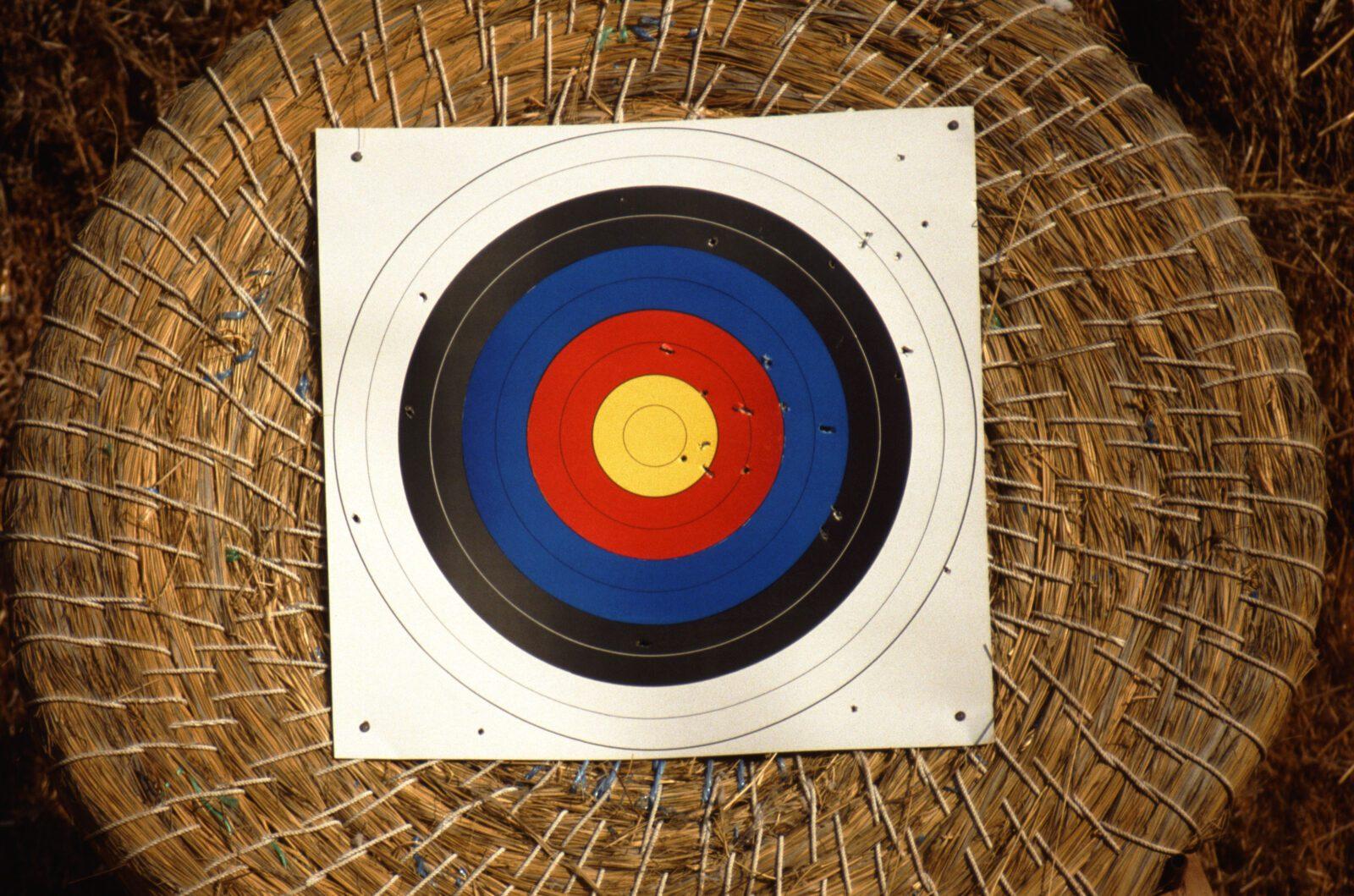 Target on a hay barrel