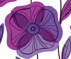 Beautiful Poppy Flowers set, Colorful Vector seamless pattern.