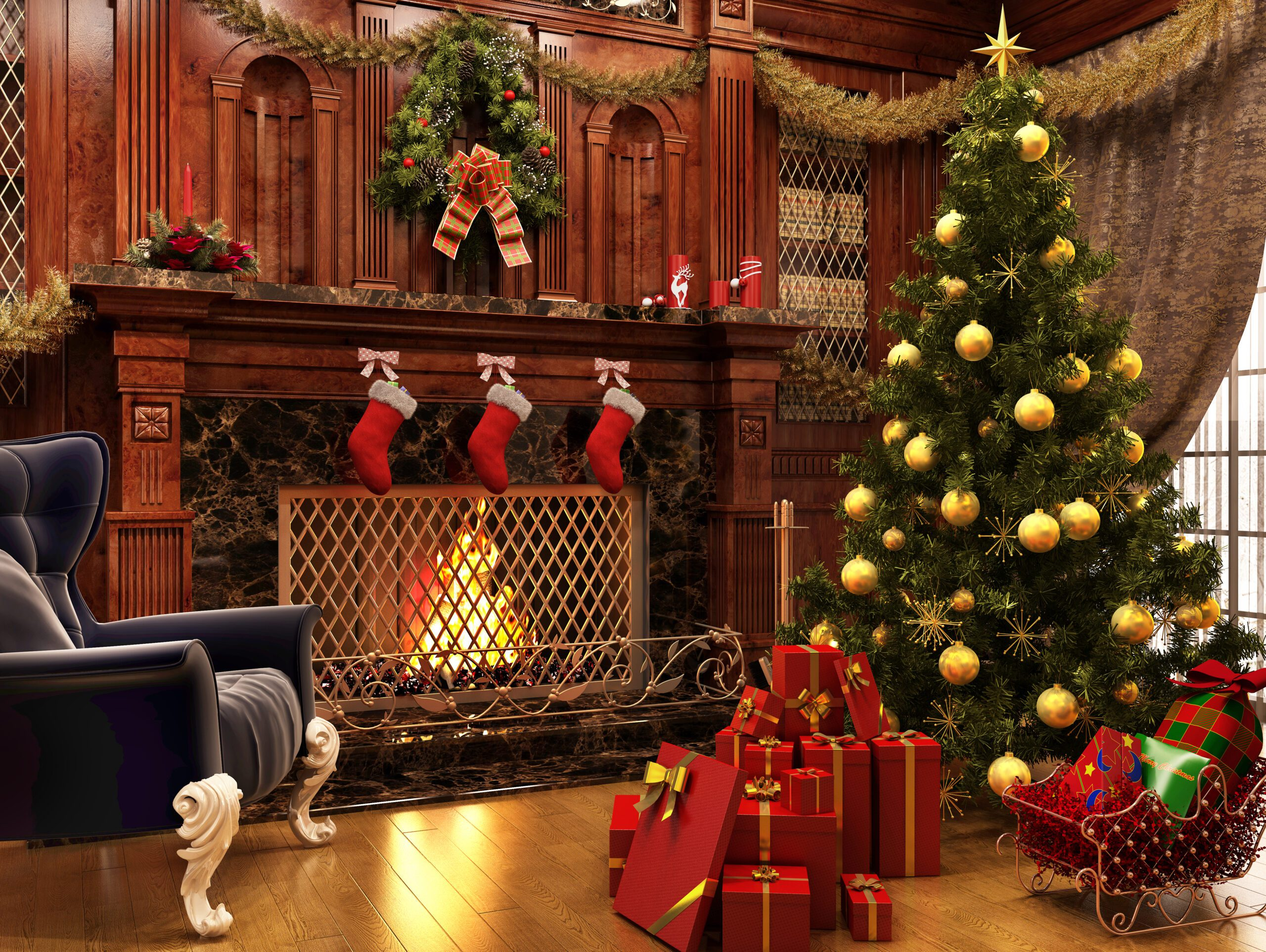 Christmas tree near a beautiful fireplace and a lot of gifts