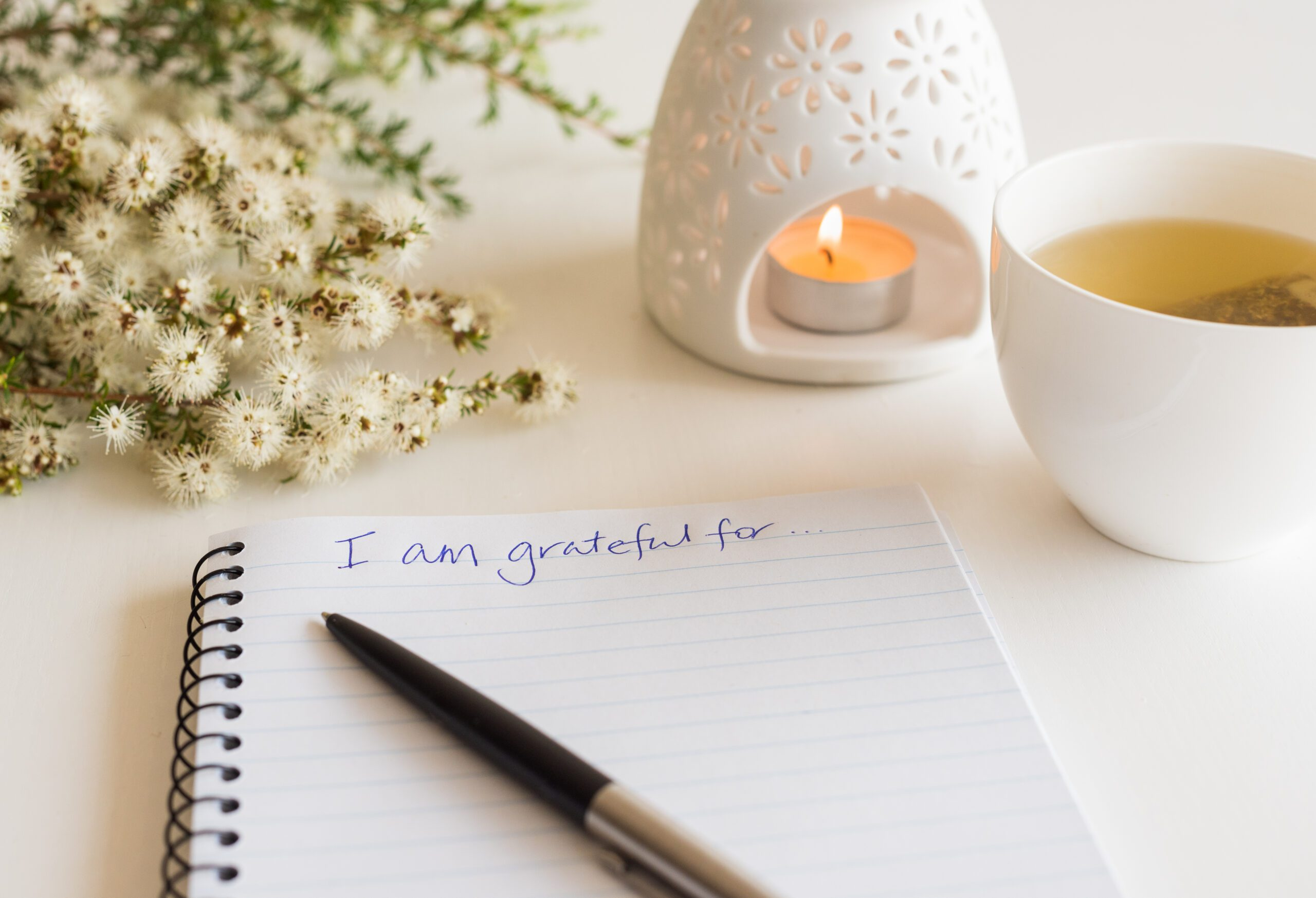 """Notebook with """"I am grateful for"""" in handwritten text"""