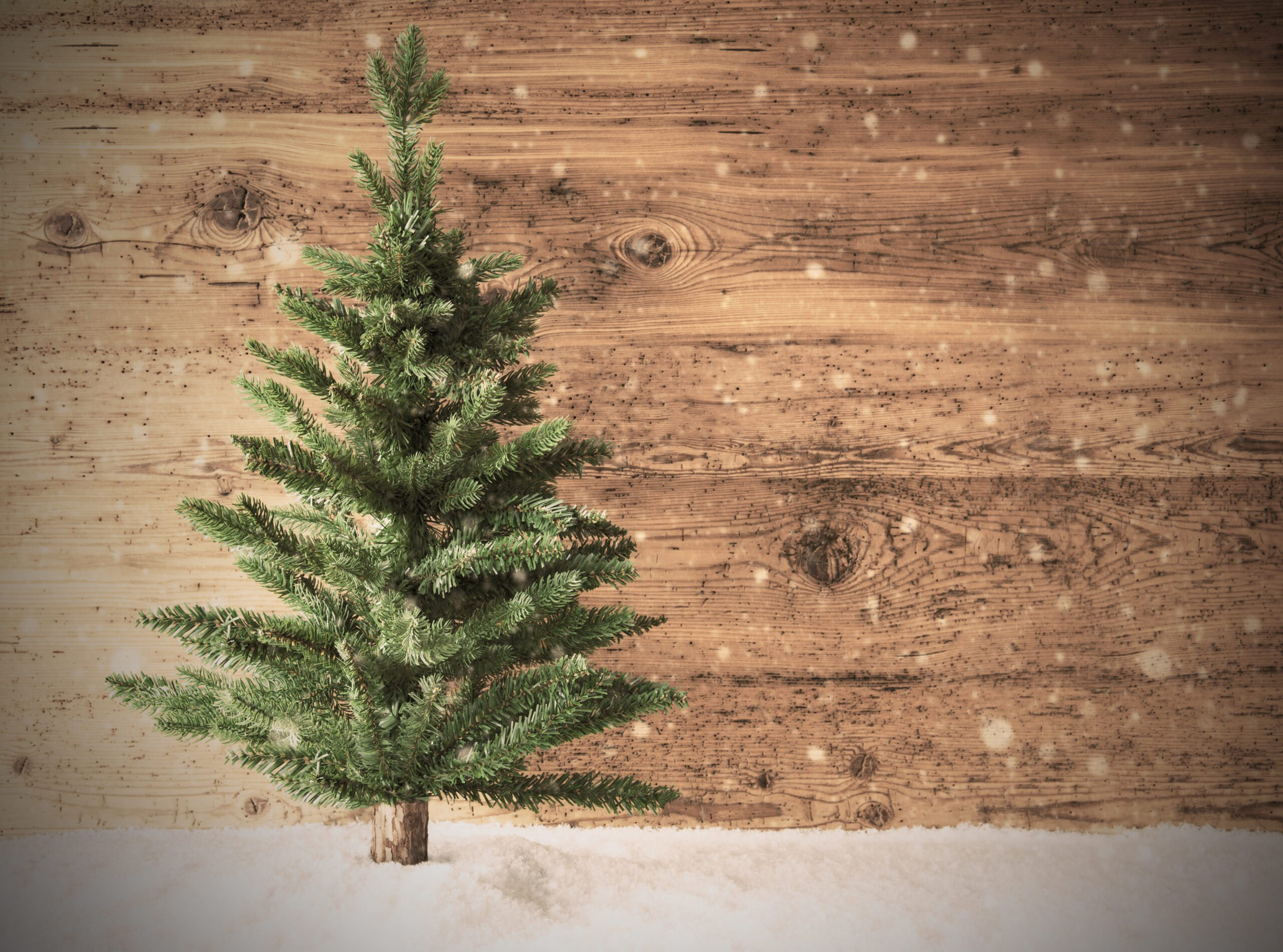 Retro Christmas Tree, Snow, Copy Space, Wooden Background