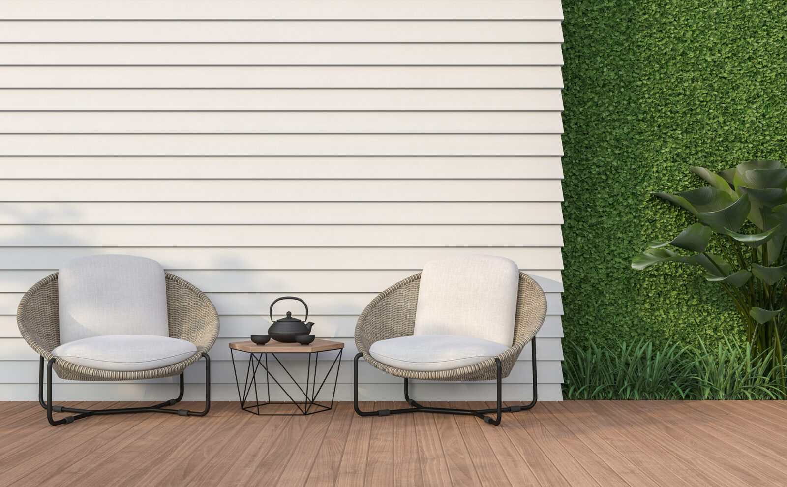 Empty wall exterior with white wood plank 3d render