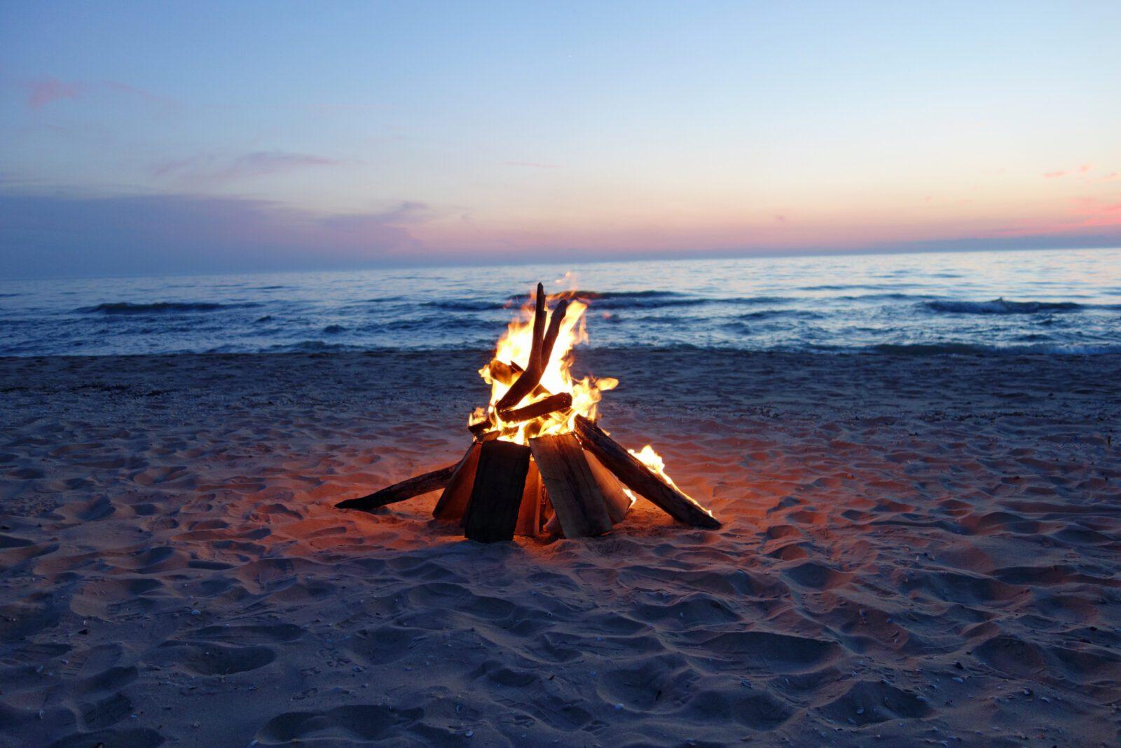 Beautiful campfire by the lake