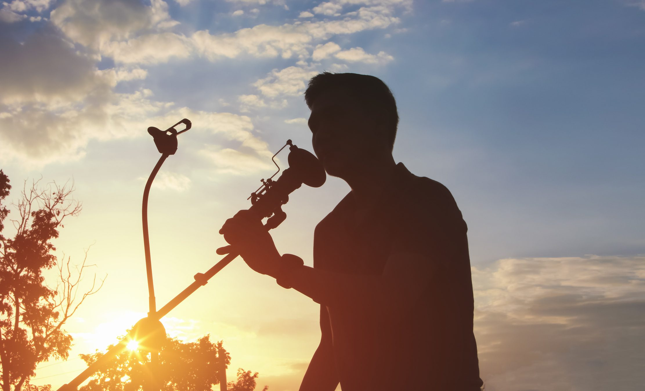 Silhouette of Singer holding a microphone stand and performing outdoor.