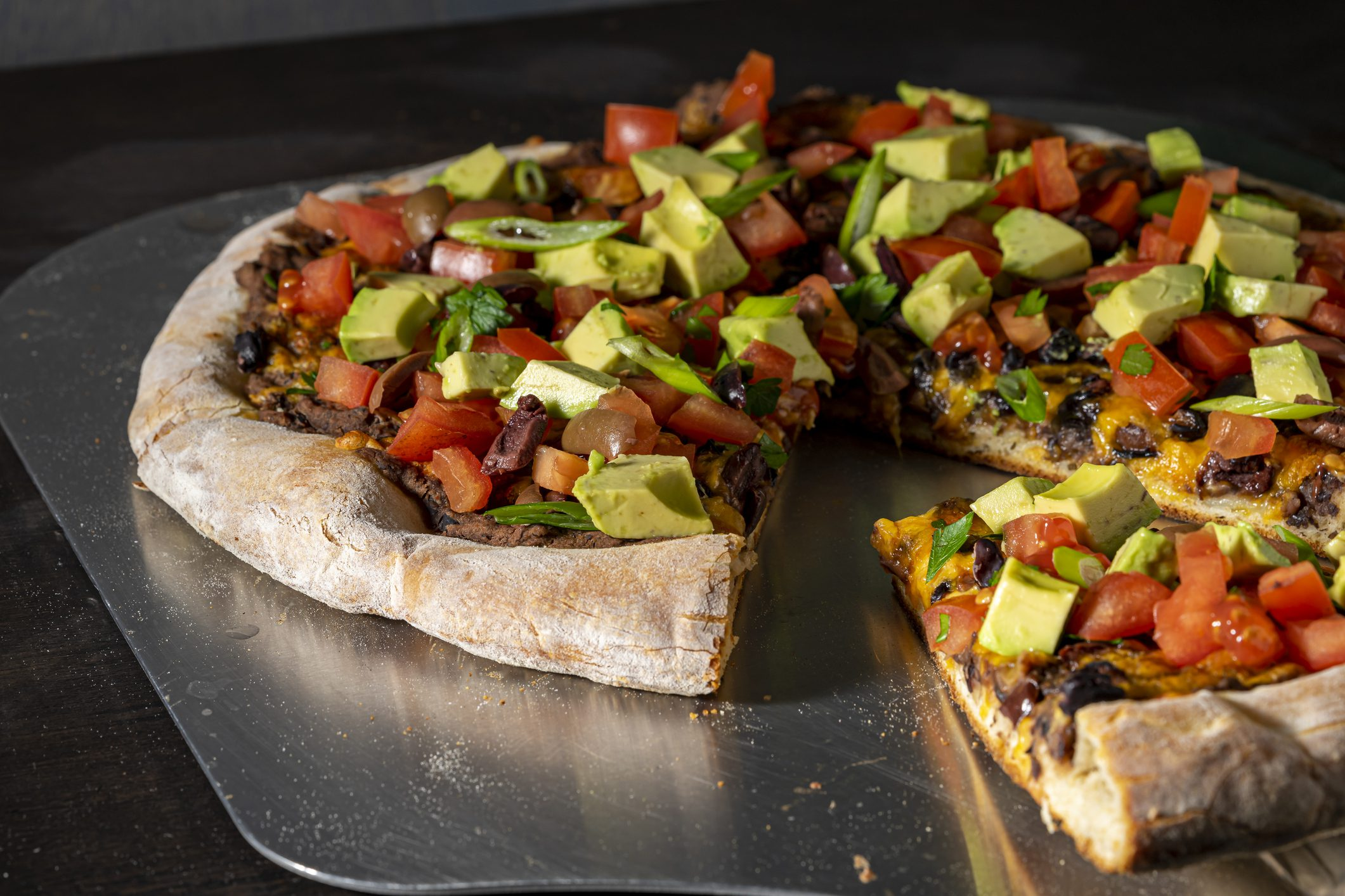 Close up of taco pizza.